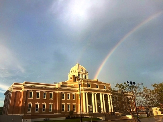 courthouse and rainbow